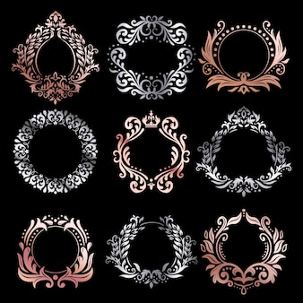 Ornate frames. silver ornamental frame, rose gold vintage premium framing and refined ornament borders  set