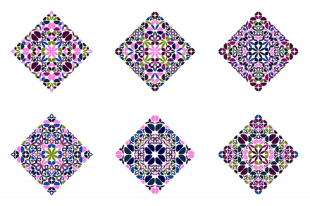 Ornate geometrical abstract floral diagonal square polygon set