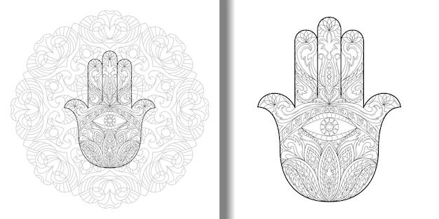 만다라와 눈 세트가 있는 화려한 손으로 그린 hamsa 문신 섬유 인쇄를 위한 파티마의 손 기호