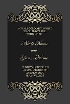 華やかなレーザーカットフレーム。結婚式の招待カードテンプレート。金箔ボーダーデザイン。