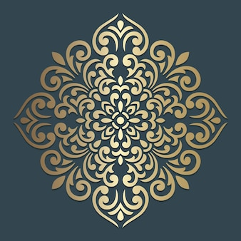 화려한 만다라 디자인. 장식용 사각형 패턴.