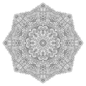 花と華やかなアウトライン曼荼羅大人の着色ページ。丸い、白い背景で隔離の飾り。抗ストレス療法。