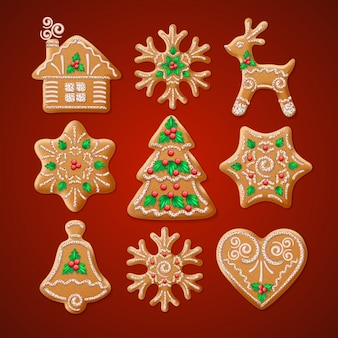 Ornate realistic set traditional christmas gingerbread.