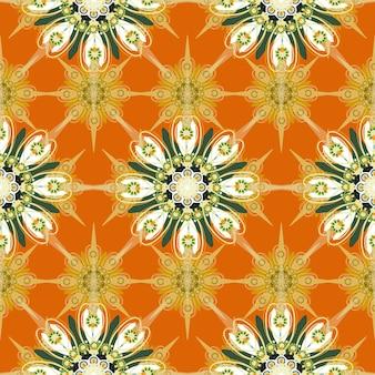 オレンジ色の背景に華やかなシームレスな花柄