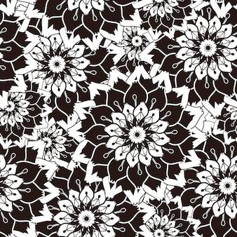 黒と白の花と華やかなシームレスパターン
