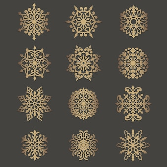 Ornate snowflakes cutout pattern. stencil circle element. circular silhouette pattern for laser cutting or die cutting machines.