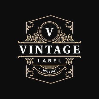 Ornate vintage badge label template with flourish swirl ornament