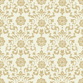 Ornate vintage seamless damask background. pattern design, decorative retro decor, vector illustration