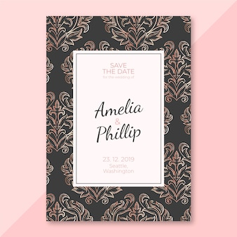 Ornate wedding invitation template damask