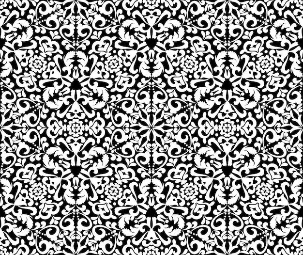 검은 배경에 화려한 흰색 패턴 demaski 원활한 우아한 패턴 레이스 패턴 블랙