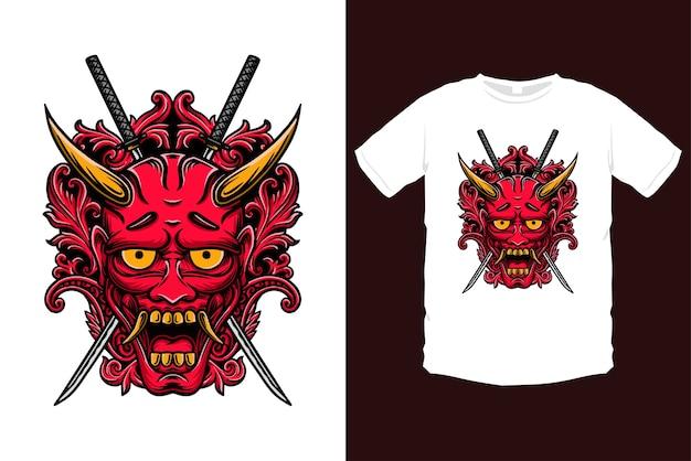 Богато украшенная иллюстрация маски японского они. красная маска демона с орнаментом и мечами катана