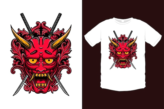 Ornated japanese oni mask illustration. red demon mask with ornaments and katana swords
