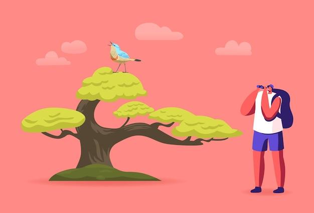 Ornithologist birdwatcher male character with binoculars watching bird on tree