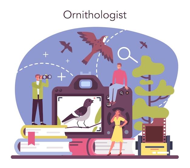 鳥類学者の概念。プロの科学者が鳥を研究します。動物学者の研究、鳥を扱う自然主義者。孤立したベクトル図