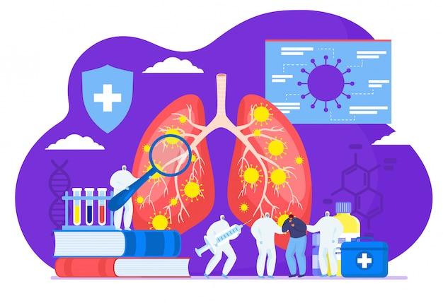 病気の患者のフラットイラストで肺と医師ミニ人のオロナウイルスcov感染。