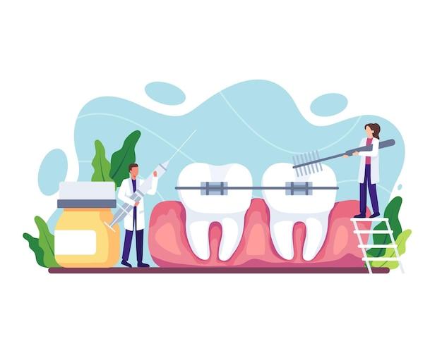Иллюстрация процедуры ортодонтического ухода. врач-стоматолог в униформе лечит человеческие зубы с помощью медицинского оборудования. стоматологические брекеты и зубная пластина. векторная иллюстрация в плоском стиле