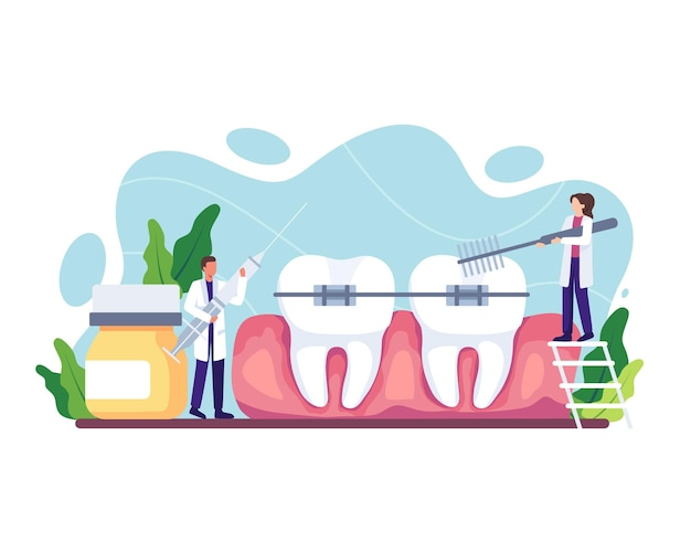 Orthodontic care procedure illustration. dental doctor in uniform treating human teeth using medical equipment. dental braces and tooth plate. vector illustration in a flat style