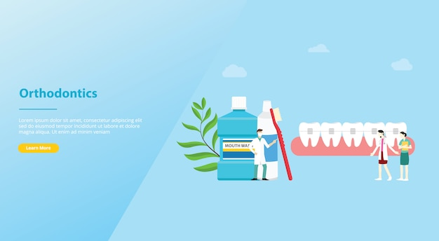 Orthodontics dentist concept with team doctor and nurse for website template or landing homepage