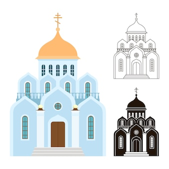 Orthodox churches icons. religion buildings isolated on white