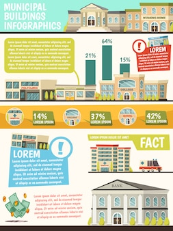 Orthogonal municipal buildings infographics with facts of buildings and their percentage rating
