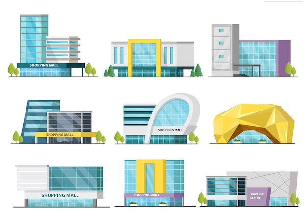 Orthogonal shopping mall buildings set