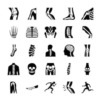 정형 외과 및 척추 고체 벡터 세트