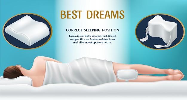 Orthopedic mattress and pillow correct position for sleep good dreams