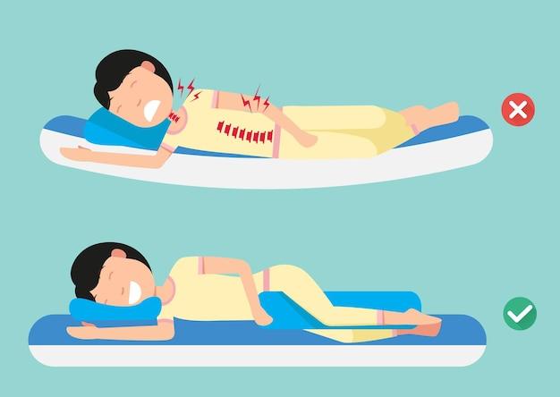 快適な睡眠と健康的な姿勢のための整形外科用枕、睡眠のための最良および最悪の位置