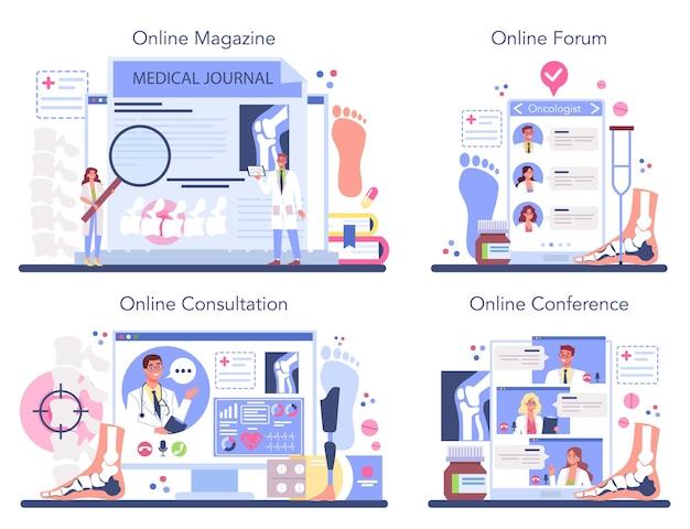 Orthopedics doctor online service or platform set.