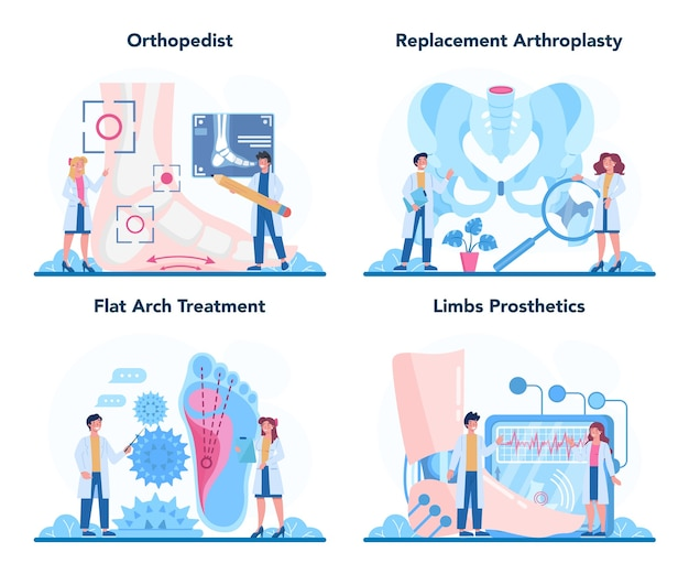 Orthopedics doctor set. idea of joint and bone treatment