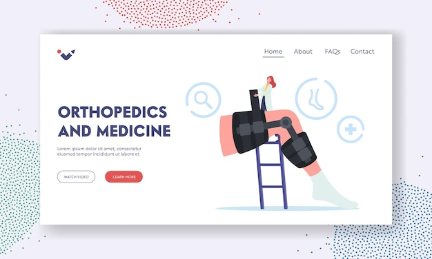 Orthopedics and medicine landing page template. tiny orthopedist doctor character install bandage brace at huge leg with bones fracture. patient treatment in hospital. cartoon vector illustration