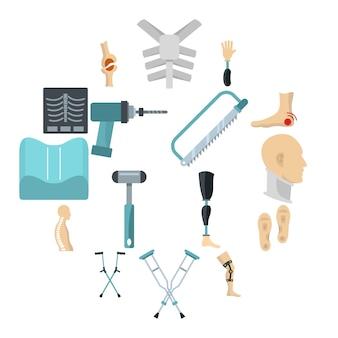 Orthopedics prosthetics icons set in flat style