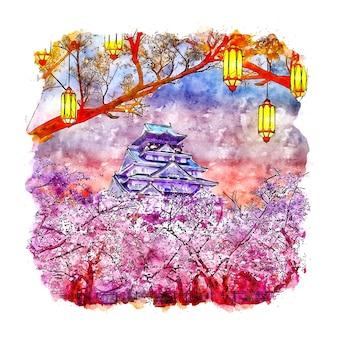 Замок осака япония акварельный эскиз рисованной иллюстрации