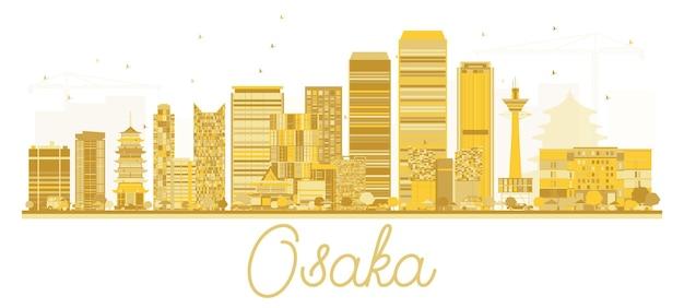 오사카 일본 도시 스카이 라인 황금 실루엣입니다. 벡터 일러스트 레이 션. 랜드마크가 있는 오사카의 풍경.