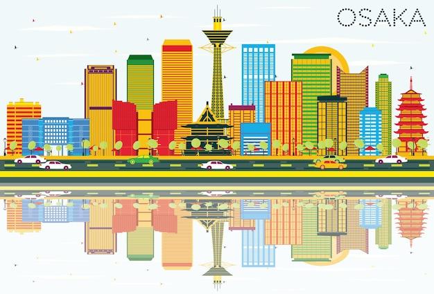 색상 건물, 푸른 하늘 및 반사와 오사카 스카이 라인. 벡터 일러스트 레이 션. 현대 건축과 비즈니스 여행 및 관광 개념입니다. 프레젠테이션 배너 현수막 및 웹사이트용 이미지.