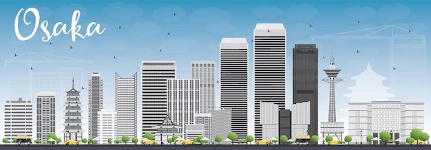 Горизонт осаки с серыми зданиями и голубым небом. баннер концепции туризма