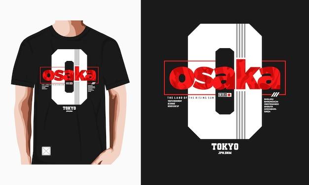 오사카 타이포그래피 티셔츠 디자인 프리미엄 벡터