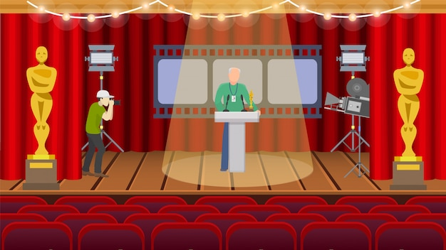 Oscar american ceremony rewarding repetition preparation hall  illustration. one man with badge standing on stage in spotlight, second takes photo on camera.
