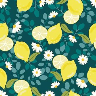 白い花oseamlessパターンとかわいいフラットスタイルイエローレモン