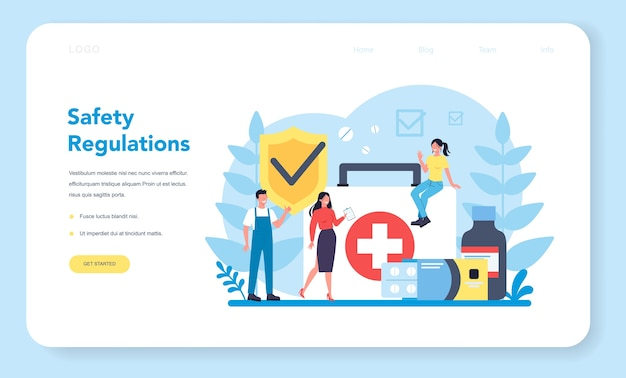 Osha concept web landing page. occupational safety and health administration. government public service protecting worker from health and safety hazards on the job. vector illustration