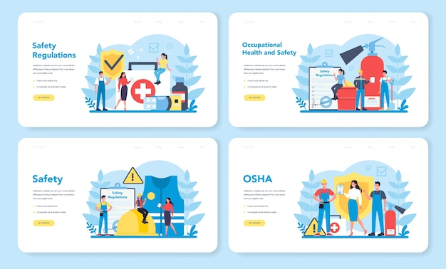 Osha concept web landing page set. occupational safety and health administration. government public service protecting worker from health and safety hazards on the job. vector illustration
