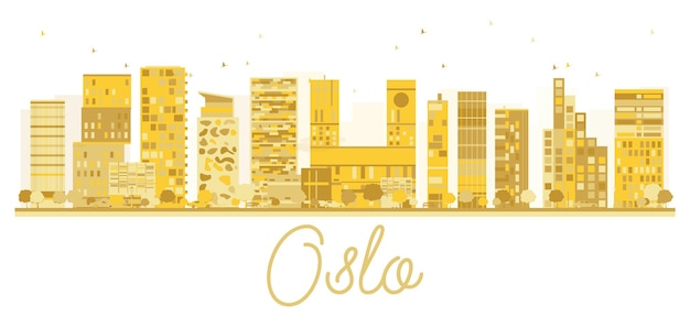 오슬로 시티 스카이 라인 황금 실루엣입니다. 벡터 일러스트 레이 션. 유명한 랜드마크가 있는 도시 풍경.