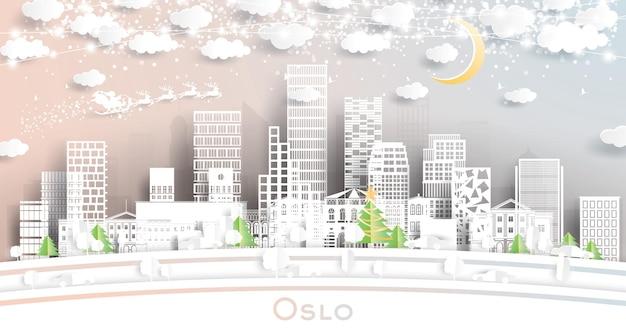 눈송이, 달, 네온 화환이 있는 종이 컷 스타일의 오슬로 노르웨이 도시 스카이라인. 삽화
