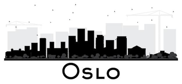 오슬로 노르웨이 스카이라인 흑백 실루엣. 벡터 일러스트 레이 션. 비즈니스 여행 개념입니다. 랜드마크가 있는 도시 풍경.