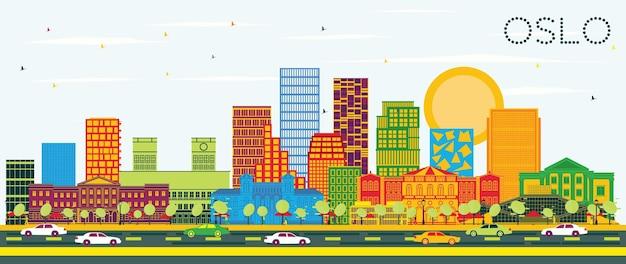 색상 건물과 푸른 하늘이 있는 노르웨이 오슬로 스카이라인. 삽화