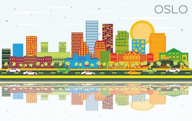 색상 건물, 푸른 하늘 및 반사와 오슬로 노르웨이 스카이 라인. 벡터 일러스트 레이 션. 현대 건축과 비즈니스 여행 및 관광 그림입니다. 랜드마크가 있는 오슬로 도시 풍경.