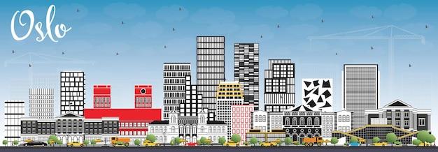 회색 건물과 푸른 하늘이 있는 노르웨이 오슬로 스카이라인. 벡터 일러스트 레이 션. 현대 건축과 비즈니스 여행 및 관광 그림입니다.