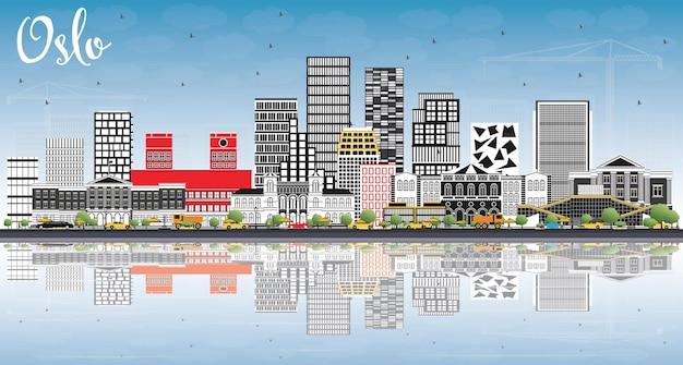 회색 건물, 푸른 하늘 및 반사와 오슬로 노르웨이 스카이 라인. 벡터 일러스트 레이 션. 현대 건축과 비즈니스 여행 및 관광 그림입니다.