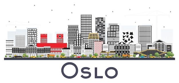흰색 배경에 고립 된 회색 건물 오슬로 노르웨이 스카이 라인. 벡터 일러스트 레이 션. 현대 건축과 비즈니스 여행 및 관광 개념입니다.
