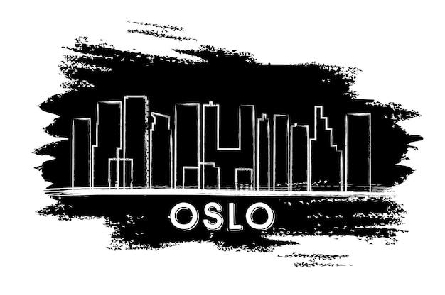 오슬로 스카이 라인 실루엣입니다. 손으로 그린 스케치. 벡터 일러스트 레이 션. 역사적인 건축과 비즈니스 여행 및 관광 개념입니다. 프레젠테이션 배너 현수막 및 웹사이트용 이미지.